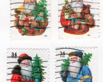 Christmas Santa Claus 34 Cent Stamps (4). Used. Off paper. Scott 3537-3540. Great for decoupage, collecting, and any other craft projects.
