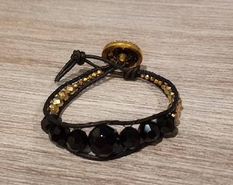 black and gold beaded bracelet, leather wrap bracelet, boho