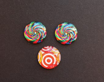 3 cabochons 25 mm glass psychedelic / ethnic multi color
