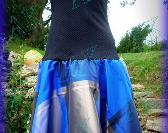 Sapphire dress, strapless black satin cotton and polyester blue/grey/bronze madras skirt