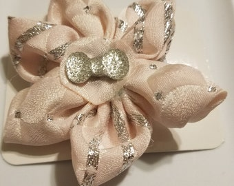 Pink fabric flower bow