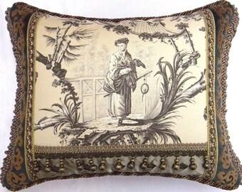 """Brunschwig Fils. """"Plaisirs D' Indochine"""" Designer Pillow W/insert"""