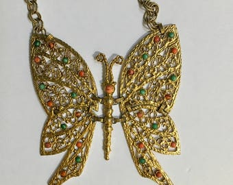 Juliana Delizza Elster Necklace DEC Large Articulated Butterfly Vintage Jewelry Christmas
