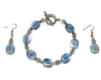 Swirled glass bead bracelet, blue glass, jewelry set, earrings, toggle bracelet, nickel free, embossed silver, glass beads, beaded bracelet