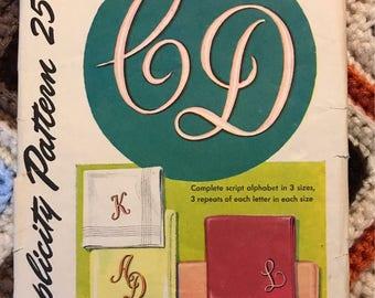 Embroidery Trasfer of Cursive Alphabet, Simplicity #4042