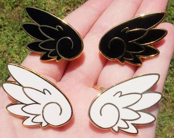 Set of 2 Anime Wings Hard Enamel Pins - Black and White - Gold Plated Lapel Pin