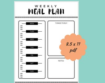 Weekly Meal Planner, Weekly Menu, Shopping List, Simple Meal Planner, Printable