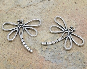 2 X 30mm silver metal insect Dragonfly charm / 30mm