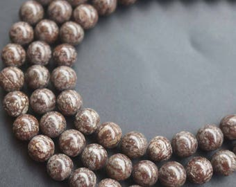 Brown Snowflake Obsidian Beads Smooth Round Beads,15'' per strand