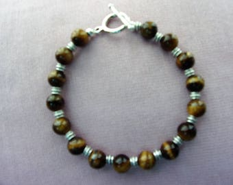 Men's genuine Tigereye and pewter bracelet