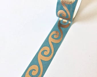 Beautiful blue washi tape with a copper pattern in the shape of a wave // Decoration wrapping Masking Bullet Journal shiny turquoise bronze