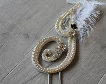 """Handmade luxury Gatsby cake topper """"J"""" initial, peals, rhinestones, feathers and lace"""