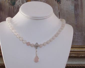 Pink quartz and Sterling Silver necklace with  pink quartz pendant