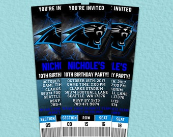 Carolina Panthers Ticket Invitation, Carolina Panthers Football Printable Ticket Invitation, Carolina Panthers Invitation, Carolina Panthers