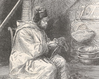 Algeria 1878, Algerian Shoemaker at the Trocadero, Old Antique Vintage Engraving Art Print, Man, Robes, Thread, Tent, Fez, Working