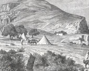 Algeria 1889, Camp at the foot of Sfyan, Old Antique Vintage Engraving Art Print, Mountain, Hill, Camp, Men, Travelers, Tents, Donkeys, Hors