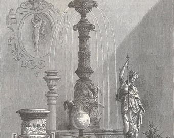 Algeria 1878, Exhibition of the Marble and Onyx Society of Algeria, Old Antique Vintage Engraving Art Print, Statues, Fountain, Ornamental