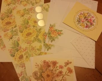 Vintage Stationery Collection ~ Beautiful Yellow Roses & Flowers