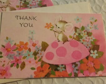 Vintage Greeting Card ~ Vintage Thank You Mouse Card 1972 Card - Forget Me Not - American Greetings Card