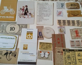 Vintage Yellow Earthtones Ephemera  Mini Pack / 20+ Pieces / Vintage & New / Collage pack/Paper ephemera lot/ junk journal pack / Tickets