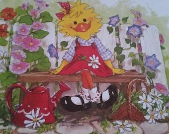 Vintage  Greeting Card ~ Suzy Zoo Blank Card  - Suzy's Garden Corner