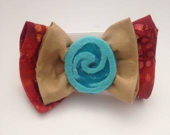 Moana Inspired Hair bow, Moana Costume Hair Bow, Fabirc Hair Bow, Hair bow for girls and women