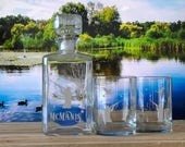 Personalized Whiskey Decanter Set, Gifts for Men, Gift for Hunter, Best Gifts for Men, Hunter Gift