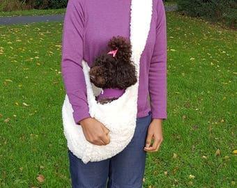 Doggy teddy bear fleece carrier/sling