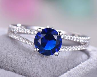 Lab Blue Sapphire Engagement Ring White Gold CZ Diamond 925 Sterling Silver Split Shank Cubic Zirconia Wedding Band Women Men Bridal Promise