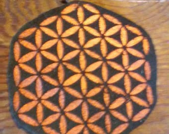 Flower of Life patch without border on leather
