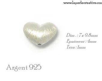 Brushed 925 sterling silver heart bead