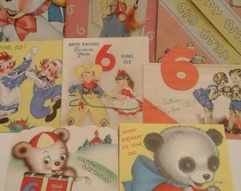 Vintage  6th birthday  greeting  cards