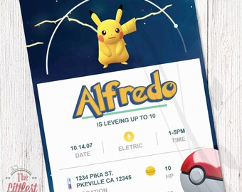 Pokemon Go Invitation - Birthday Invite  - DIGITAL FILE