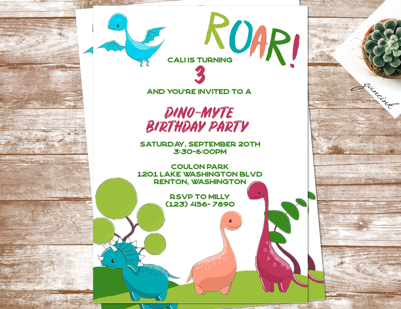 Dinosaur Birthday Invitation | 3rd Birthday Invitation | Roar ...