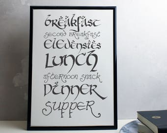 Hobbit Style Kitchen Print - Meals of the Day Lord of the Rings Inspired Print - Second Breakfast LOTR Print