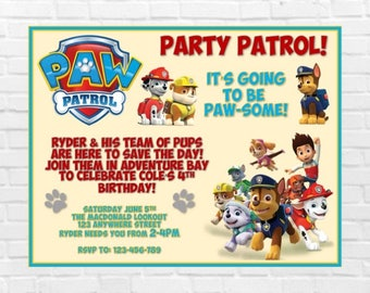Paw Patrol Birthday Invitation, Paw Patrol Party, Boy/Girl Birthday