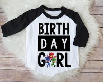 PJ mask birthday girl shirt, pj masks personalized shirt, pj mask custom birthday shirt, catboy shirt, owlette shirt, gekko shirt