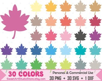 Autumn Clipart, Maple Leaf Planner SVG Silhouette Cricut Cut File Commercial Use (Png Svg Dxf)