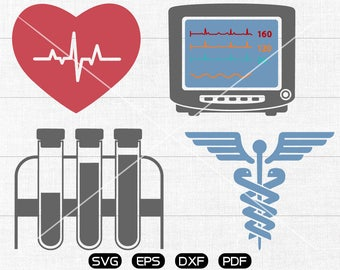 Medical Caduceus Svg, test tube svg,  electrocardiogram Clipart, cricut, cameo, silhouette cut files commercial & personal use