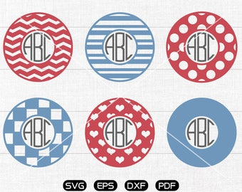 Circle SVG, Patterned Clipart, Monogram Frame cricut, silhouette cut files commercial use