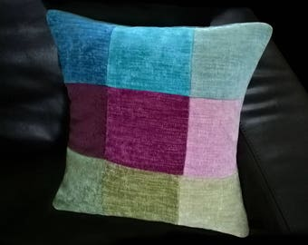 Cushions handmade - Decorative pillow - Cushion cover - Multi coloured chenille patchwork cushion