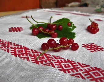 Slavic tablecloth / napkin / bag with Slavic symbols, 100% linen, Handmade blockprinting
