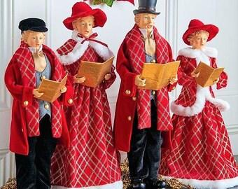 """Raz Imports 8.5"""" Christmas Carolers Red and Black (Set of 4) RAZ3700773"""