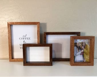 Picture Frame, Solid Hardwood, Various Species, Natural Finish, 4x6, 5x7, 8x10, Custom Size