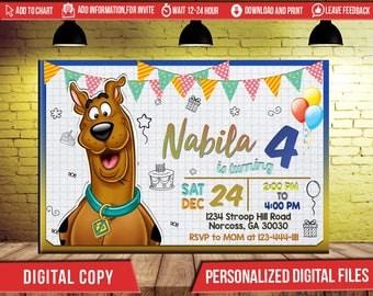 Scooby Doo Birthday Invitation, Scooby Doo Invitation, Scooby Doo Birthday Party Invitation, Scooby Doo Party, Scooby Doo Birthday,FD