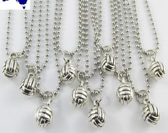 Set of 10 3D Netball Charm 50cm SS Ball Chain Necklace Coach Sports Team Gift