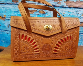 60s / 70s leather tooled bag.