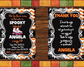 Halloween Roller Skate Birthday Invitation, Halloween Party, Halloween Costume Party, Halloween Invitation, Skate Party Invitation, Tween