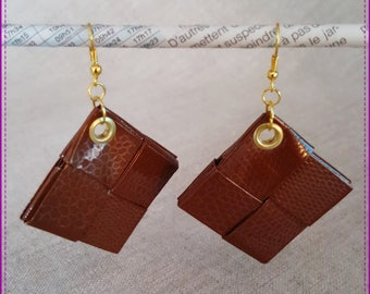 Earrings in recycled paper laminated Brown imitation skin