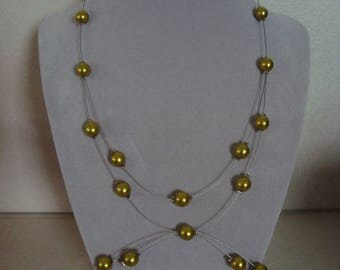 Original necklace beads green glass Pearl